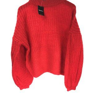 NWT Ladies Red Chunky Knitted Sweater Long Sleeve.